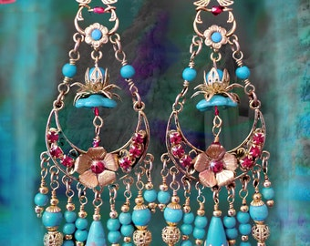 Turquoise Bohemian Chandelier Earrings, Gold Lotus Beaded Flower Earrings, Gemstone Gypsy Jewelry, Gold or Silver Tiered, Clip-On Option