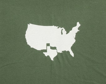 Mens Texas t shirt- american apparel olive green- available in S, M, L, XL, XXL- WorldWide Shipping