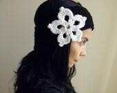 PDF crochet pattern, lace flower applique headband, snowflake earwarmer, DIY tutorial, Quick and easy gift