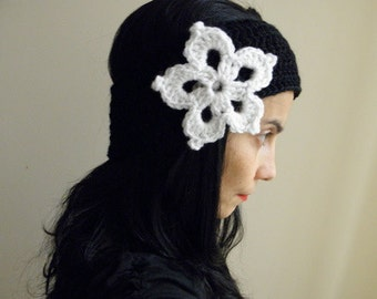 PDF crochet pattern, lace flower applique headband, snowflake earwarmer, DIY tutorial, Quick and easy gift