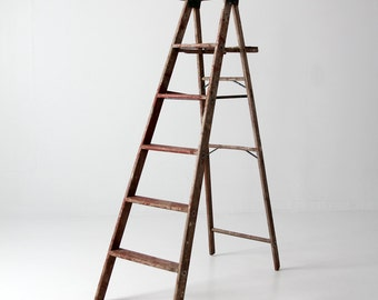 wood ladder, vintage red painter's ladder, 5.5 ft decorative ladder
