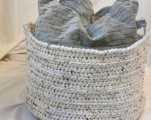 "Large Crochet Basket - Oatmeal Ecru Beige Fleck - Home Decor Organization Storage Round Cylinder 18"" x 14"" for Towels, Blankets, Pillows"
