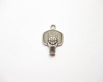 8 Basketball and Hoop Charms in Silver Tone - C1982