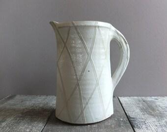 Vintage Studio Pottery Pitcher / White Pitcher