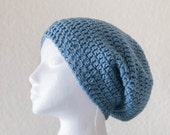 Women's Hat, Blue Slouchy Beanie, 40% OFF SALE, Unisex Beanie