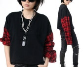 RTBU Punk Rock Cropped Raw Edge Oversized Sweatshirt Red Tartan Flannel Sleeve