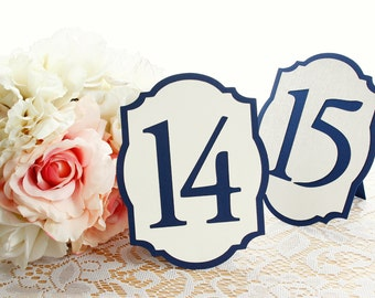 Elegant Navy Blue and Ivory/Cream Wedding Table Numbers - Table Number Cards - Table Number Signs