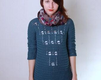 Pdf Crochet Pattern - Emerald Drops Sweater - Womens Stylish Crochet Sweater Pattern - sizes XS to 3XL - US and UK crochet terms
