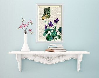 Summer Sale Violets and the butterfly Decorative art printed on Dictionary Page wall art, home decor, wall hanging flower BFL105