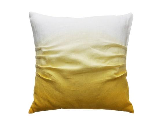 "Ombre linen decorative pillow Yellow dip dye soft white linen cushion cover SALE Size 16""x16"" / 40x40cm"