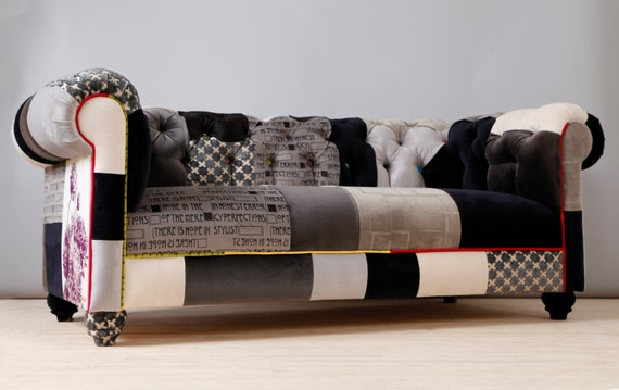 black white chesterfield patchwork sofa. Black Bedroom Furniture Sets. Home Design Ideas
