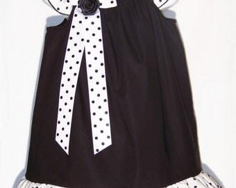 Black Ruffle Dress / Black / White / Pretty / Newborn / Infant / Baby / Girl / Toddler / Kids / Handmade / Custom Boutique Clothing