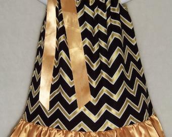 Saints Pillowcase Dress / Black & Gold / Satin Ruffle / New Orleans / Who Dat / Infant / Baby / Girl / Toddler / Custom Boutique Clothing