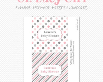Candy Bar Wrapper, Candy Bar Label, Chocolate Bar Label, Party Favor, Baby Shower, Pink and Gray, Grey - Editable, Printable, Instant