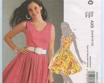 McCall's 5800 Misses Princess Seam Lined Dress and Sash McCalls Sewing Pattern Size 4-12 UNCUT