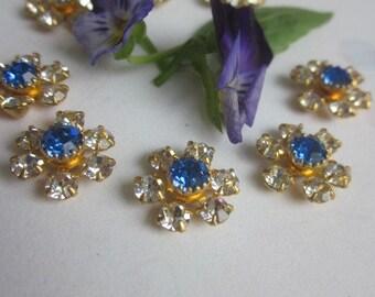 Vintage Swarovski Sapphire And Crystal  Flowers