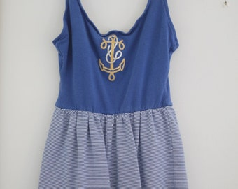 Vintage 80s Sailor Romper Playsuit sz Medium