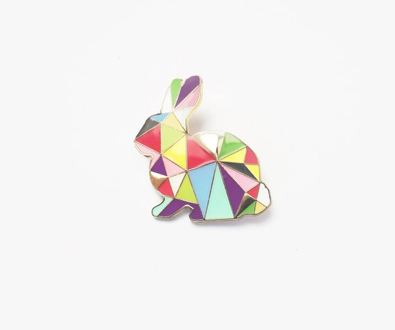 Geometric Rabbit Neon Brooch  -  Harlequin Bunny Easter Enamel