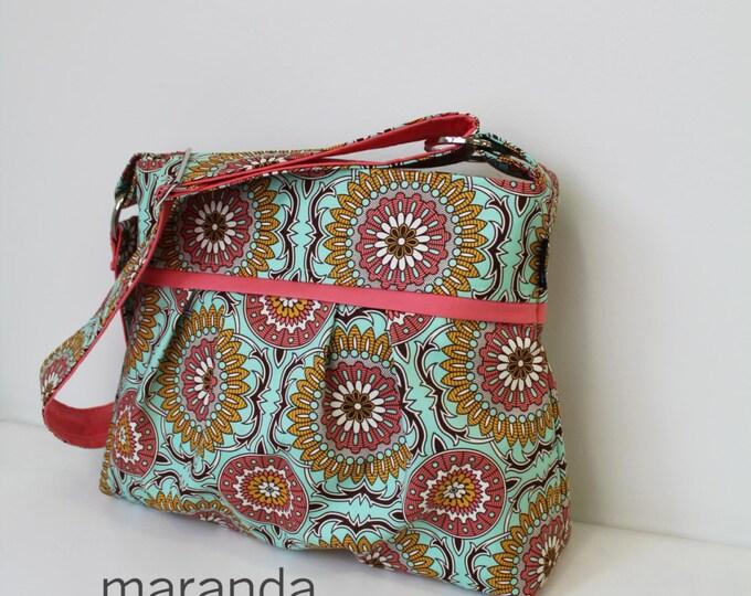 Stella Medallion Diaper Bag - Medium - Doily Mint with Coral Peach- 6 pockets - Attach to Stroller