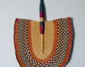 Vintage Colorful Woven Large Tropical Hand Fan Decrative Wall Hanging Great Hand Fan
