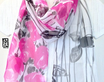 Silk Summer Scarf, Black and Pink Roses Scarf, Handmade Silk Scarf, Silk Chiffon Scarf, Silk Scarf Handpainted, 10x58 inches, Made to order