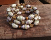 Citrine & amber shell Paper bead memory wire bracelet ~ white, lavender, and pastel green ~ one of a kind beaded bracelet