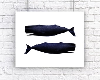 Twin Whales Blue Large Nautical Vintage Style Art Print Beach House Decor