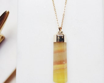 Fluorite Pendant Necklace Crystal Point Necklace Gold Filled Necklace Pendant Necklace Long Pendant Necklace