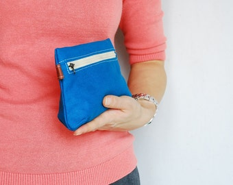 On SALE 30% - Piggy Pouch in Teal - Zipper Pocket / Purse / Wallet / clutch / cosmetic bag / iphone case / For Her/ Pouch / Women / For kids