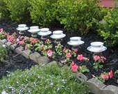 Teacup Landscape Lighting, Blue Lusterware Garden Decor, Votive Holders, Bird Feeders, Party Decor Set of 6
