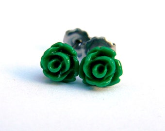 Emerald Titanium Earrings  Tiny Glossy Forest Green Rose Cabochon Stud Earring Hypoallergenic Minimalist Jewelry  St. Patrick's Day