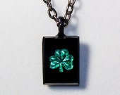 Shamrock Black German Glass Pendant with Black Chain St. Patrick's Day Good Luck Necklace