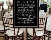 Wedding Welcome Sign Unplug INSTANT DOWNLOAD Printable File -- Vintage Inspired Mixed Fonts Black White