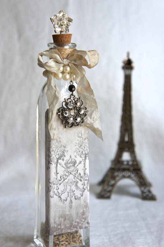Decorative Glass Bottle With Vintage French Label Vintage