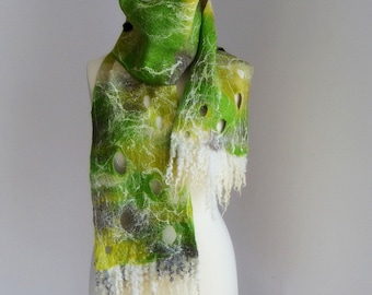 Martha. Light green, gray and cream white felted scarf, one-of-a-kind accessory