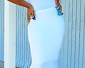 Amaka dress: Long white and blue stretchy lycra dress with African fabric details size medium