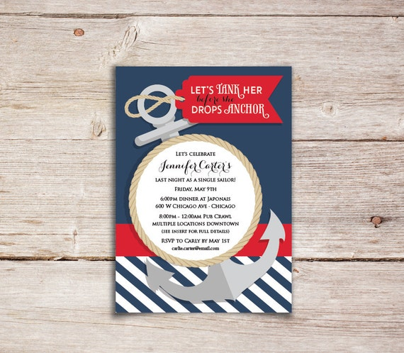 Let's tank her before she drops anchor! Bachelorette Party Invitations