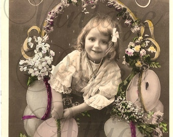 Antique French Photo Postcard Cute Little Girl with Easter Eggs RPPC Post Card from Vintage Paper Attic
