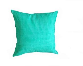 Sea Green Linen printed cushion 45cmx45cm