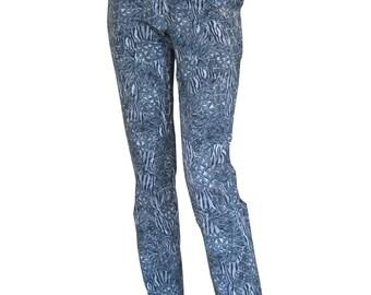 Gray Leopard Pants, High Waisted Pants, Straight Trousers, Cotton Pants, Designers Pants, Zipper Pants