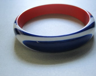 Red White and Blue Lucite Bangle Bracelet Never Worn 4th of July Summer Protest vintage costume jewelry patriotic MoonlightMartini