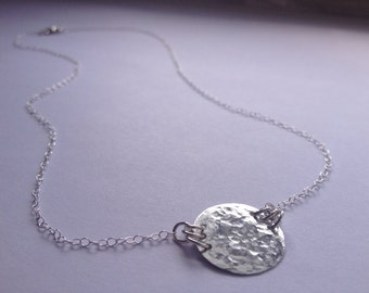 Silver Disc Circle Necklace, Hammered Sterling Silver, Dainty, Simple