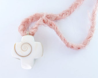 Necklace White Cross Wedding pendant shell lucky charm infinity symbol Bridal Elegant Cross Pendant pink organza Spiral one of a kind