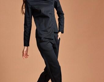 Black-Blue Shirt Blouse - Asymmetrical Shirt - Cotton Shirt - Free Shipping