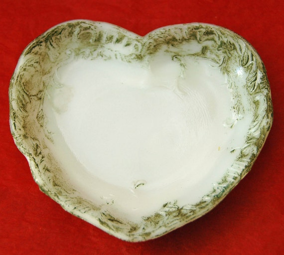Antique DITHRIDGE HEART MILK Glass Dish, Victorian, 1880's, Floral, Cold Painted, Jewelry / Trinket Tray - Valentine's Gift - Free Shipping!