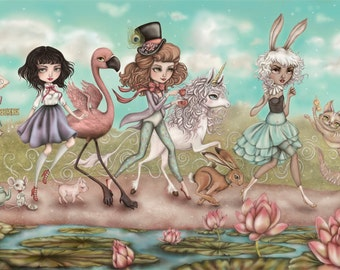 The Caucus Chase Inspired by Alice in Wonderland Limited Edition Fine Art Print