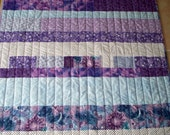 Modern Quilt - College Dorm Decor - Wheelchair - Children -  Purple Blues strips  - Reversible - Purple Chevrons