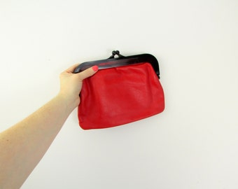 Ruby Clutch - Vintage 1960s Red Leather & Lucite Clutch Purse