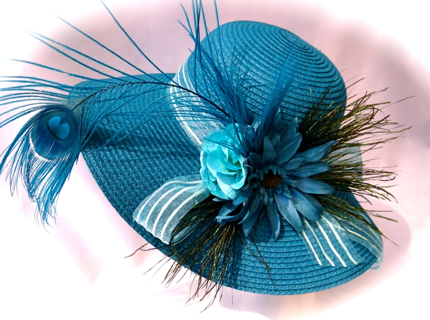 Teal Peacock Derby Hat Mother Of The Bride By Marcellefinery
