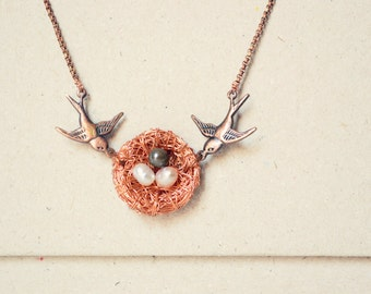 bird nest necklace, bird nest jewelry, bird necklace, pearl necklace, Mother's day gift
